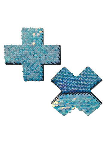 CROSS NIPPLE PASTIES - UNICORN BLUE SEQUIN