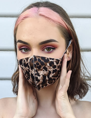 LEOPARD PRINT FACE MASK - BROWN