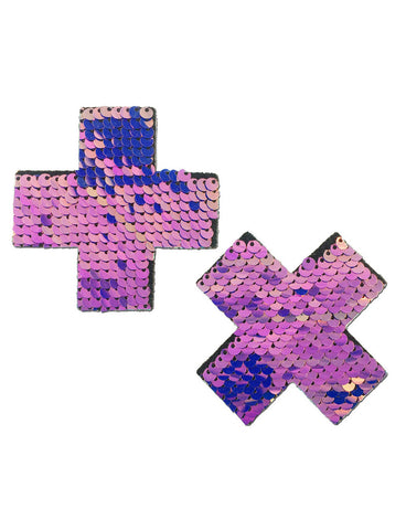 CROSS NIPPLE PASTIES - UNICORN HOLOGRAM SEQUIN