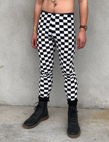 DOOF MEGGINGS - BLACK & WHITE CHECKERBOARD