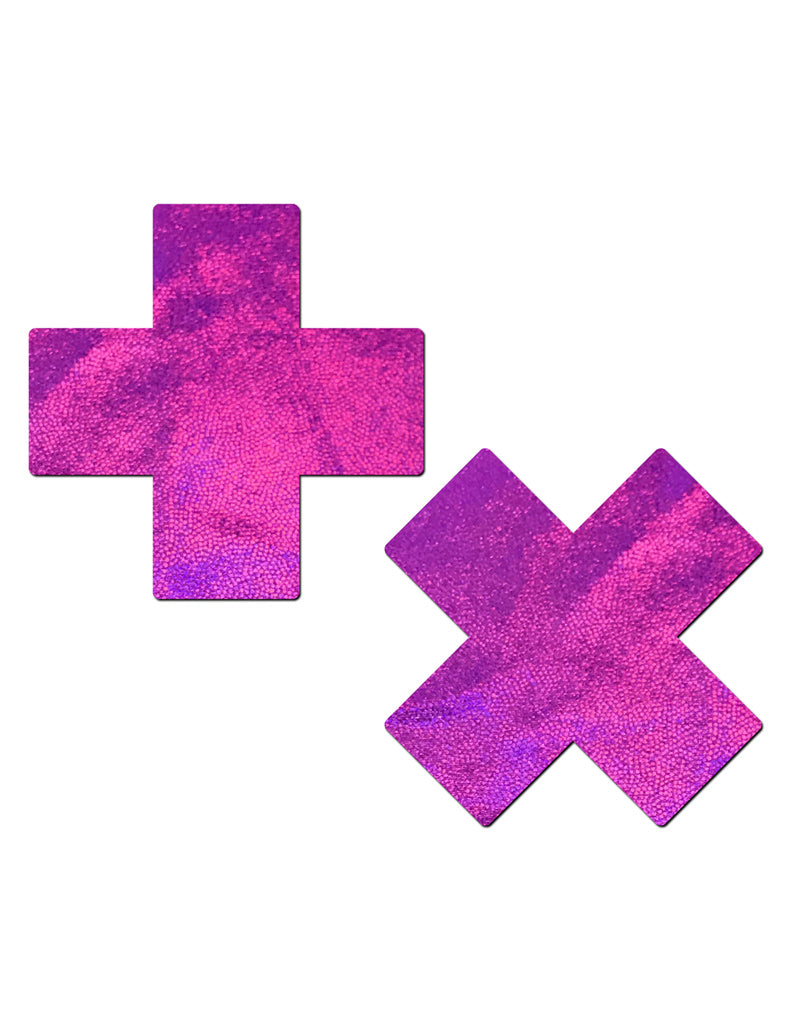 CROSS NIPPLE PASTIES - HOLOGRAM PINK