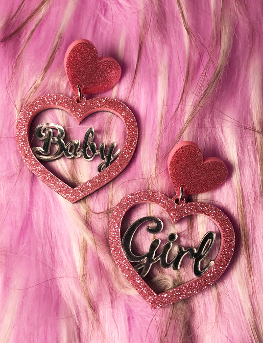 BABY GIRL EARRINGS - SMALL PINK & SILVER