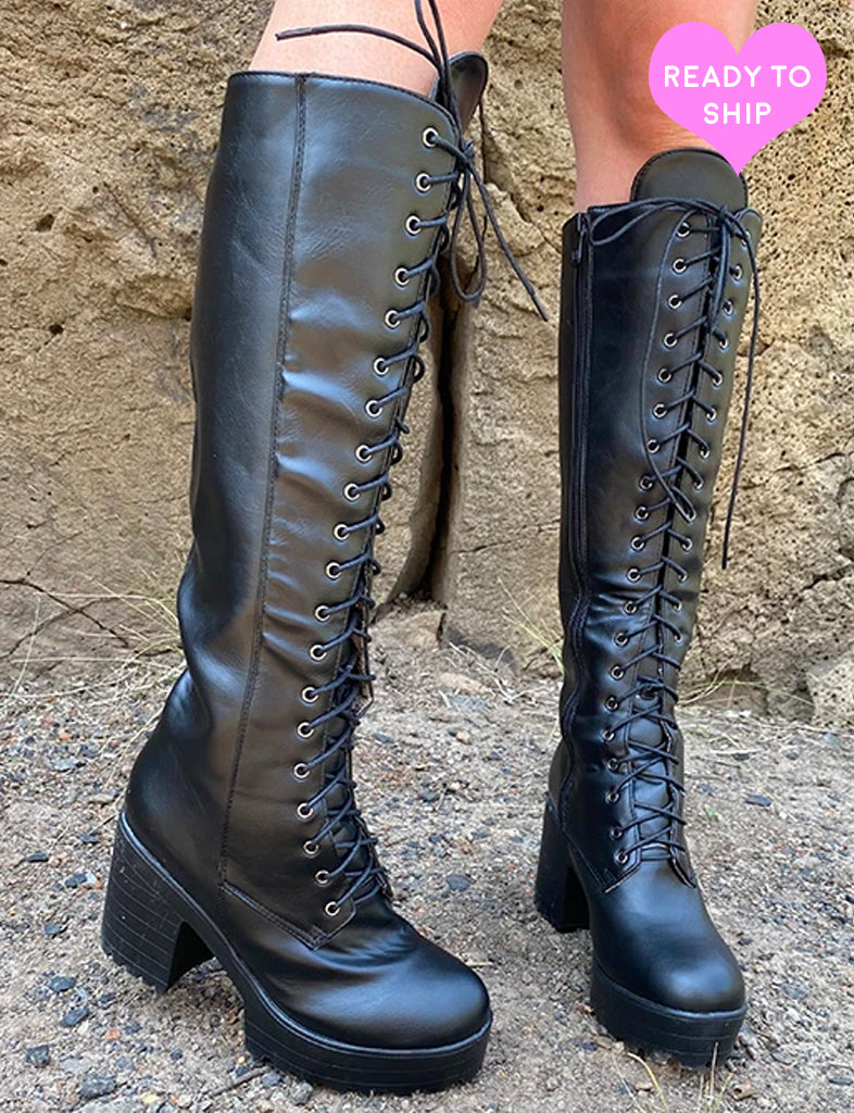 DARK NIGHTS LACE UP BOOTS