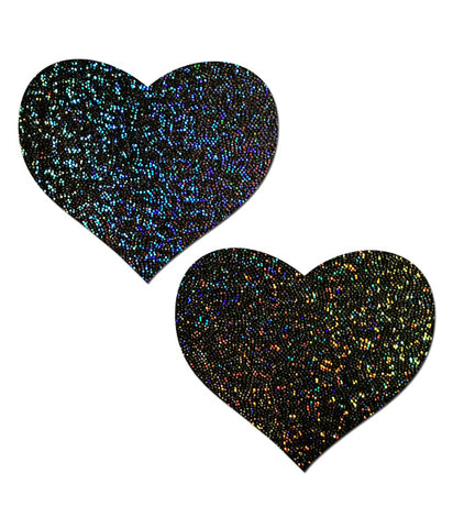 HEART NIPPLE PASTIES - BLACK GLITTER