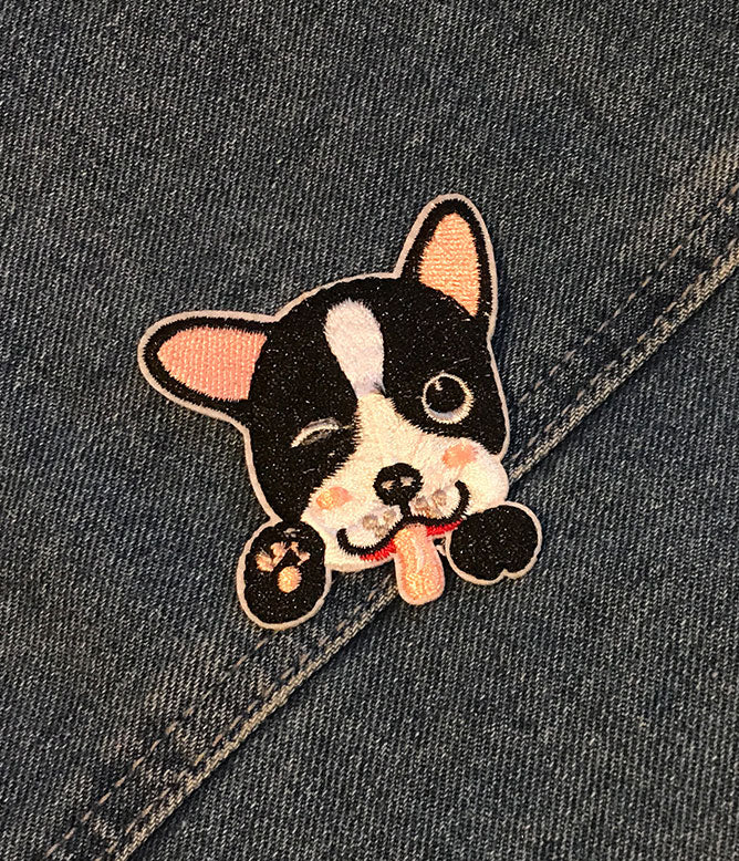 CHEEKY BOSTON TERRIER IRON ON PATCH