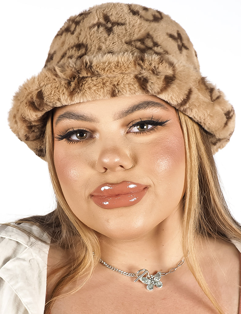 RICH BITCH FLUFFY BUCKET HAT - BROWN