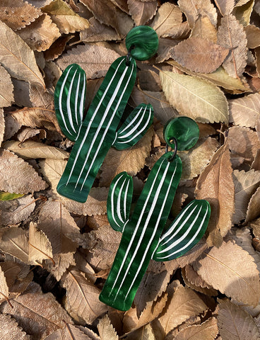 CACTUS EARRINGS - GREEN RIPPLE