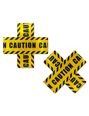 CROSS NIPPLE PASTIES - CAUTION TAPE