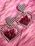 CHECKERED PINK FLAME EARRINGS