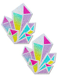 DIAMOND NIPPLE PASTIES - SILVER RAINBOW