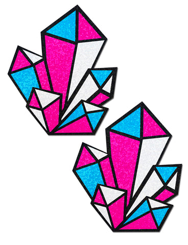 DIAMOND NIPPLE PASTIES - BLACK PINK BLUE