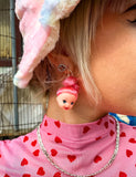 DOLL HEAD EARRINGS - PINK