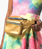 SPACE CADET HOLOGRAM BUM BAG - GOLD