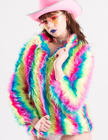 *EXCLUSIVE* RAINBOW FIELDS CROPPED DOOF JACKET