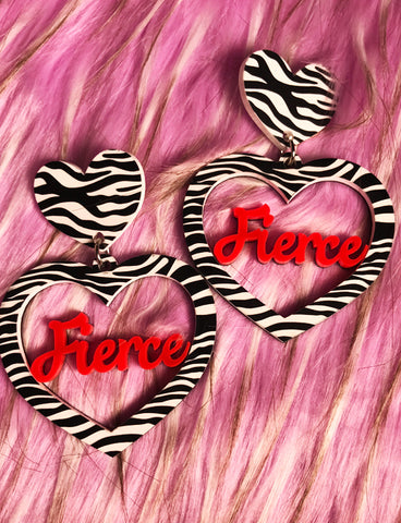FIERCE EARRINGS - ZEBRA PRINT