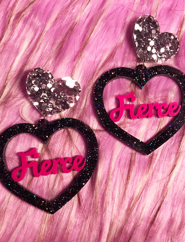 FIERCE GIRLS HEART EARRINGS - BLACK GLITTER