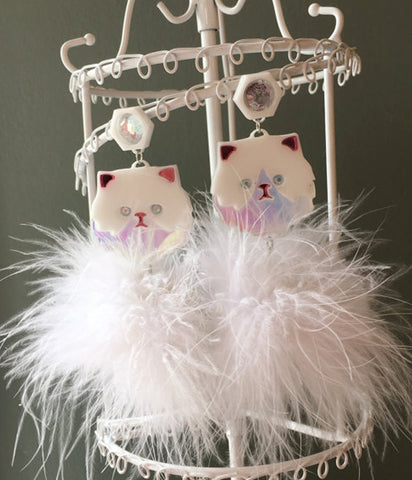 PERSIAN FLUFFY KITTY EARRINGS