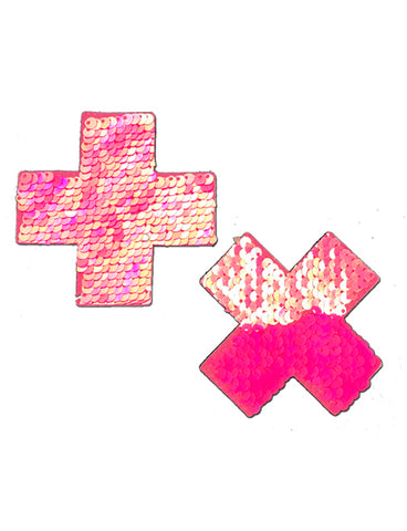 CROSS NIPPLE PASTIES - HOT PINK SEQUIN