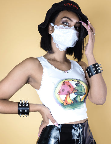 LACE DUST MASK - WHITE