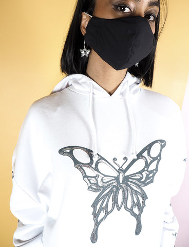 METALLIC BUTTERFLY HOODIE - WHITE