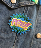 POW IRON ON PATCH - PURPLE TEXT