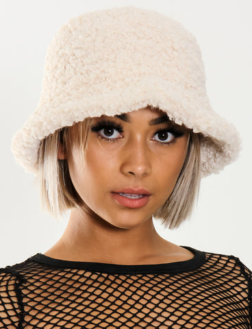 BLAZED FUZZY HAT - CREAM