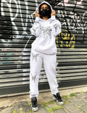 METALLIC BUTTERFLY JOGGERS - WHITE