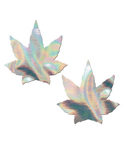 POT LEAF NIPPLE PASTIES - SILVER HOLOGRAM