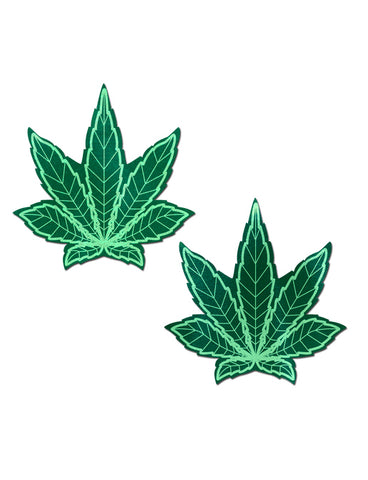 POT LEAF NIPPLE PASTIES - PLAIN GREEN