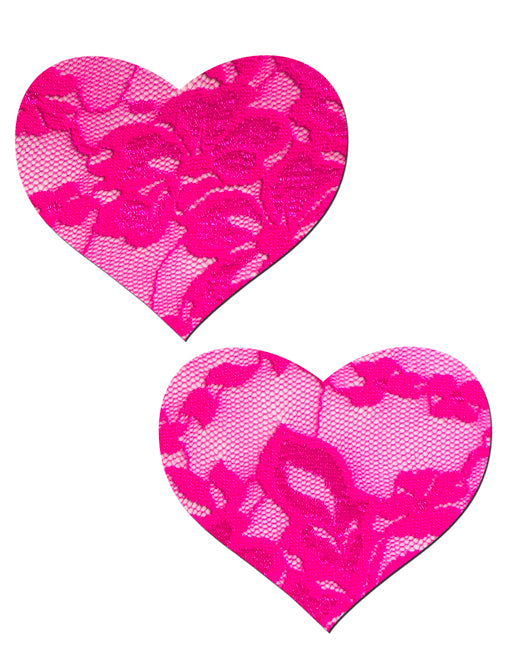 HEART NIPPLE PASTIES - HOT PINK LACE
