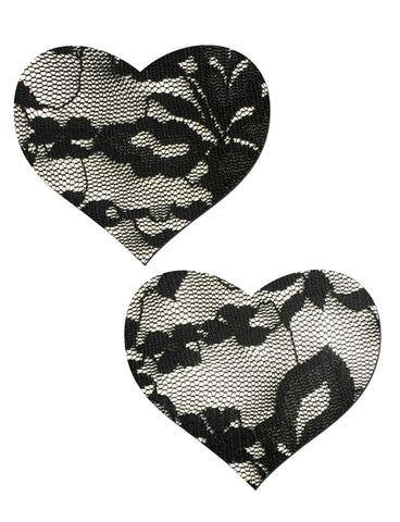 HEART NIPPLE PASTIES - BLACK LACE
