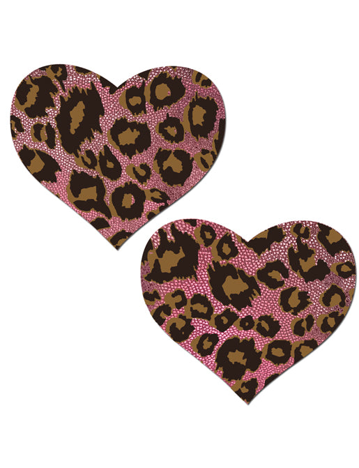 HEART NIPPLE PASTIES - PINK LEOPARD