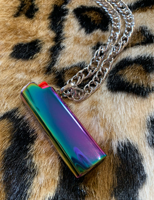 LIGHTER HOLDER NECKLACE - IRIDESCENT RAINBOW