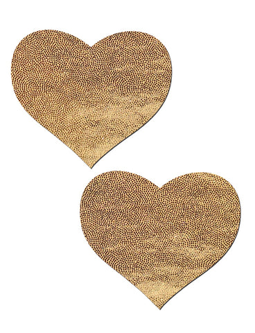 HEART NIPPLE PASTIES - GOLD LIQUID