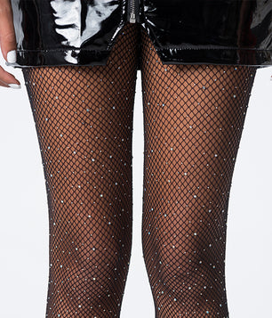 ROLLING IN DIAMONDS BLING FISHNETS - BLACK