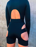 ZIP FRONT LEOTARD - BLACK