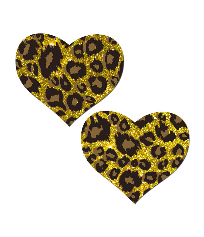 HEART NIPPLE PASTIES - LEOPARD