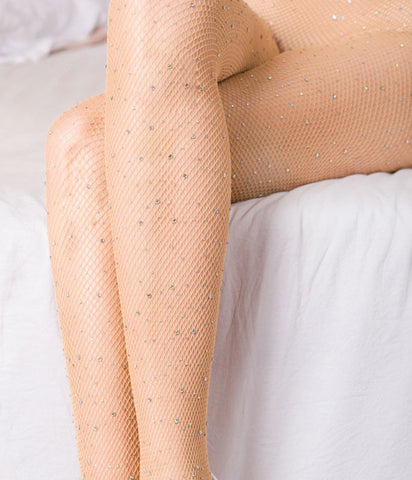 ROLLING IN DIAMONDS BLING FISHNETS - NUDE