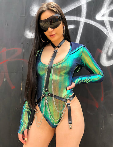HOODED BODYSUIT - BLACK OPAL