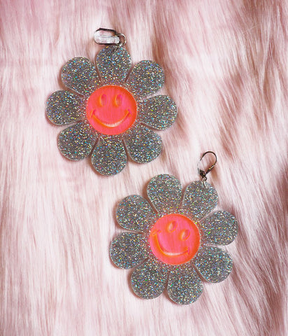 HAPPY FLOWER POWER EARRINGS - GLITTER