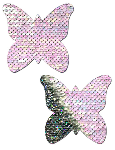 BUTTERFLY NIPPLE PASTIES - PEARL SILVER HOLOGRAM SEQUIN