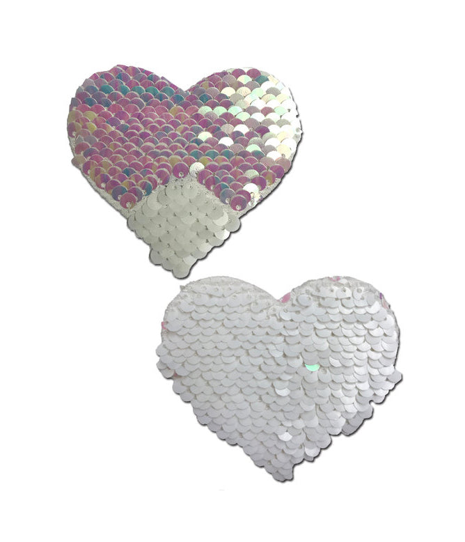 HEART NIPPLE PASTIES - PEARL SEQUIN