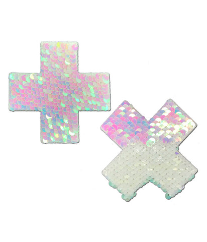 CROSS NIPPLE PASTIES - PEARL SEQUIN