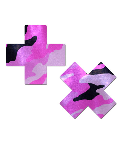 CROSS NIPPLE PASTIES - PINK CAMO