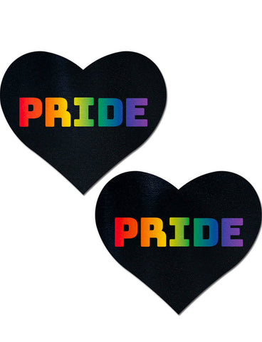 HEART NIPPLE PASTIES - BLACK/RAINBOW PRIDE