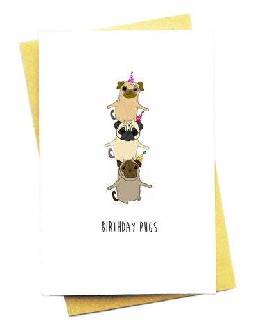 BIRTHDAY PUGS GREETING CARD