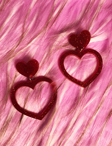 BARBIE HEART EARRINGS - SMALL RED GLITTER