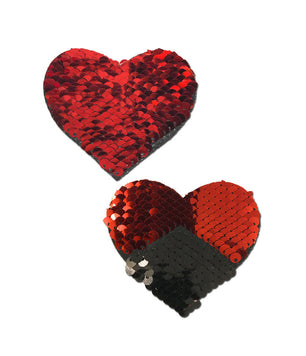 HEART NIPPLE PASTIES - RED SEQUIN