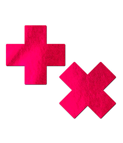 CROSS NIPPLE PASTIES - RED LIQUID