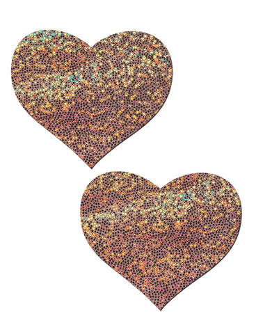 HEART NIPPLE PASTIES - ROSE GOLD GLITTER